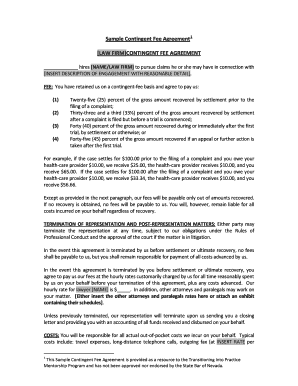 Complete Printable 7 Sample Contingency Fee Agreement Forms