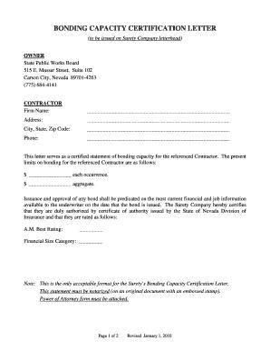 Certified bonding capacity letter form Fill Online, Printable ...