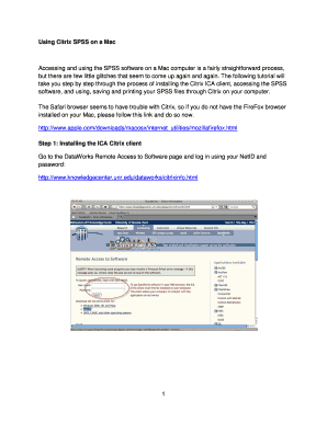 Fillable Online wolfweb unr Using Citrix SPSS on a Mac - wolfweb unr