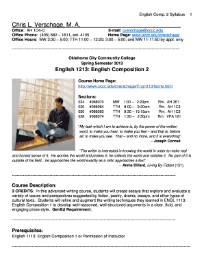 Fillable Online occc Course Syllabus ( pdf) - Oklahoma City