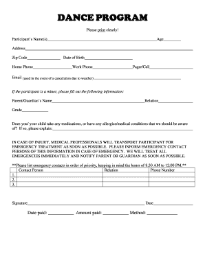 Dance registration form doc fill online printable for Dance school registration form template free