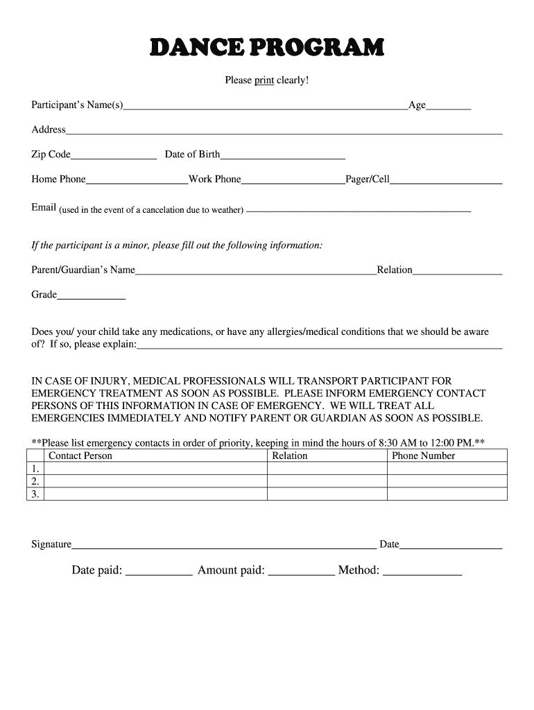 Dance Registration Form Doc Fill Online Printable Fillable Blank Pdffiller