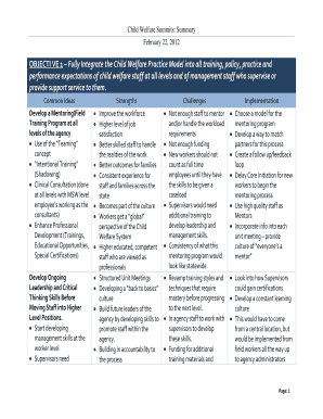 Child Welfare Summits: Summary. A chart ijn table form depicting objectives, common ideas, strengths, challenges, and implementation for the Child Welfare Plan.