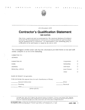 a305 contractor's qualification statement form Templates ...