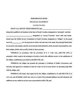 Fillable Online regulatorystaff sc Performance Bond Agreement Form ...