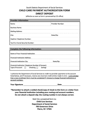 Fillable Online dss sd Child care payment authorization form ...