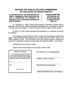 Order permitting withdrawal of application and closing docket - puc sd