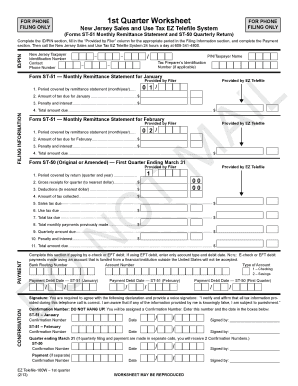 Fillable Online 1st Quarter Worksheet- New Jersey Sales and Use ...