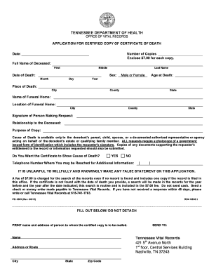 Fillable Online health state tn Application for Birth