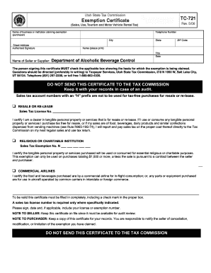 Fillable Online abc utah TC-721 Utah State Tax Commission ...