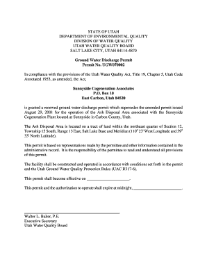 draft permit division of water quality