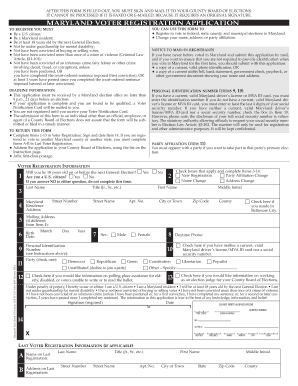 Bill Of Sale Form Maryland Voter Registration Application ...