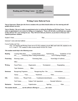 Reading and Writing Center CG 409 Writing Center Referral Form - nvcc
