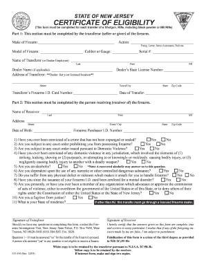 Fillable Online njsp Certificate Of Eligibility - New Jersey State ...