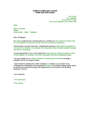 SAMPLE COMPLAINT LETTER HOME BUILDING WORK Your ... - commerce wa gov
