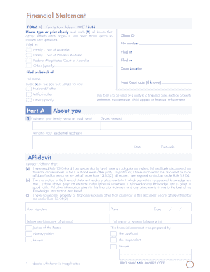 printable form 13 financial statement family court fill out