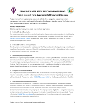 Project Interest Form Supplemental Document Glossary