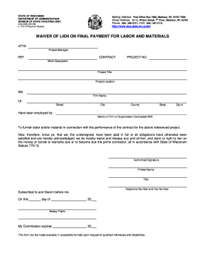 Wisconsin Construction Lien Waiver Form - Fill Online, Printable ...