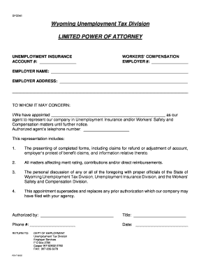 power of attorney form wyoming  Fillable Online wyomingworkforce Forms & Documents - Wyoming ...