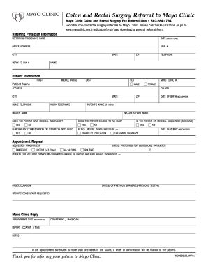 Mayo Clinic Referral Form - Fill Online, Printable, Fillable, Blank