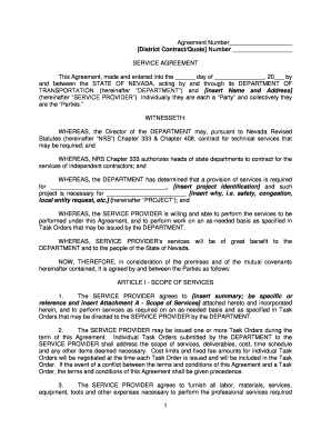 Service Agreement with Task Order Template - Nevada Department ...