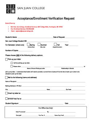 Fillable Online sanjuancollege Acceptance/Enrollment Verification ...
