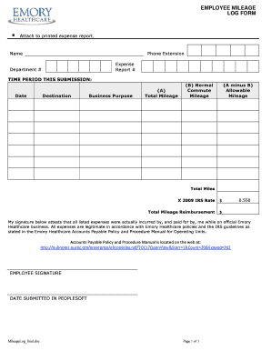 129 printable mileage reimbursement form templates fillable