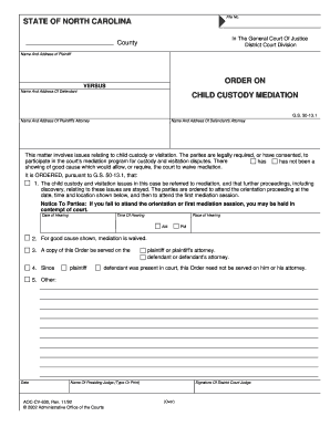 Printable what to expect at mediation child custody - Fill