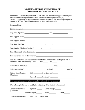 Sample Notification of Assumption of Consumer Propane Service form