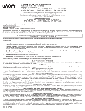 Unum Long Term Disability Claim Form - ohr gatech