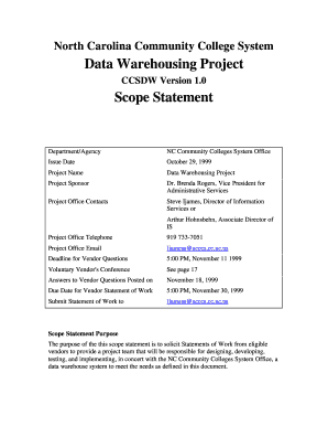 nc community college it dw project scope statement form