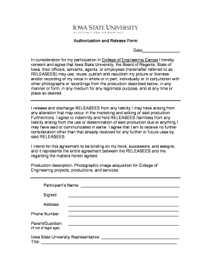 Authorization and Release Form - Photo - Iowa State Engineering ... - isek iastate