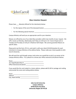 Mass Intention Request Fill Online, Printable, Fillable