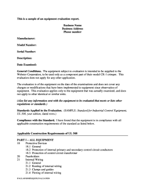 Evaluation report sample edit print download fillable templates this is a sample of an equipment evaluation report altavistaventures Choice Image