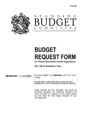 Fillable Online BUDGET REQUEST FORM - Sites at Lafayette Fax Email ...