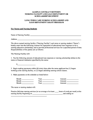 Scholarship Contract Templates | Printable Nurse Contract Sample Fill Out Download Forms