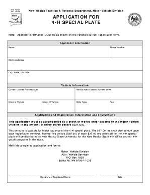 Fillable Online Aces Nmsu Application For 4 H Special