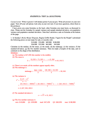 STATISTICS TEST 2A (SOLUTIONS) - faculty ncwc