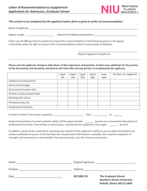 Letter of Recommendation to Supplement Application for Admission ... - niu