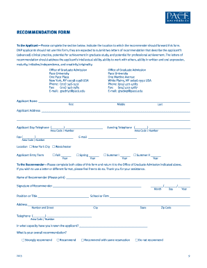 Letter of Recommendation Form - Pace University