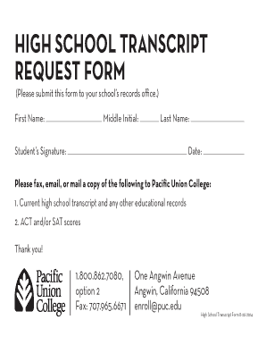Fillable online puc high school transcript request form pacific fill online altavistaventures Images