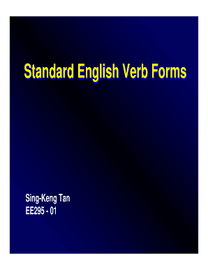 Standard English Verb Forms Section 01