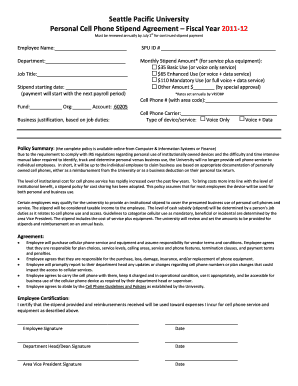 Cell Phone Stipend Agreement - Seattle Pacific University - spu