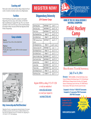 shippensburg field hockey camp daily schedule form