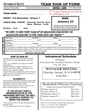 Basketball training template fillable form