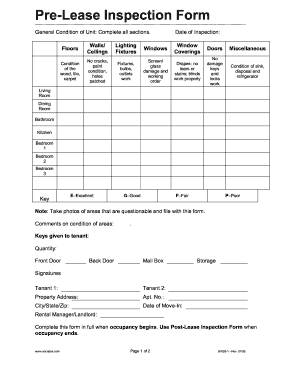 Fillable Online Pre-Lease Inspection Form - Siu Fax Email Print ...