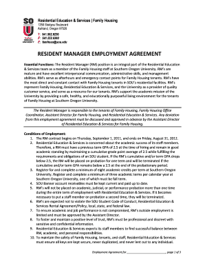 fillable online sou resident manager employment agreement southern rh pdffiller com