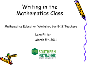 Writing in the Mathematics Class 2011 (pdf)