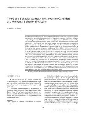 The Good Behavior Game: A Best Practice Candidate as a Universal ... - evolution binghamton