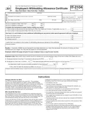 Form IT-2104:(1/12):Employee's Withholding Allowance Certificate ...
